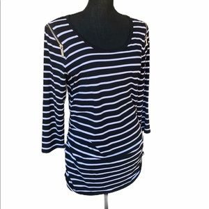 Michael Kors Ruched Black & White Striped Top